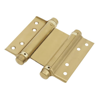 Double Action Spring Hinge - 102mm - Brass Plated - Pair
