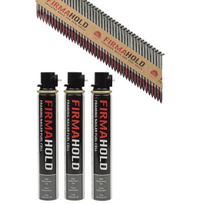 TIMco 34° FirmaHold Clipped Head Nail and Gas - First Fix - 2.8 x 50mm - Bright - 3 Fuel Cells