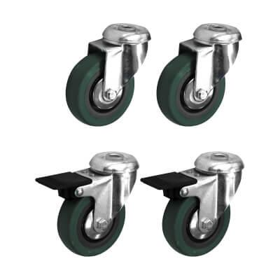 Coldene Castor Pack - 2 x Bolt Hole, 2 x Bolt Hole with Brake - 135kg Maximum Weight - Grey