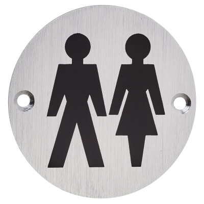 Unisex Toilet Door Sign - 75mm - Satin Aluminium)