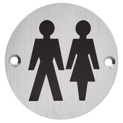 Unisex Toilet Door Sign - 75mm - Satin Aluminium)