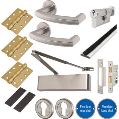 Heavy Duty Lever on Rose Fire Door Kit - Euro Sashlock - Stainless Steel
