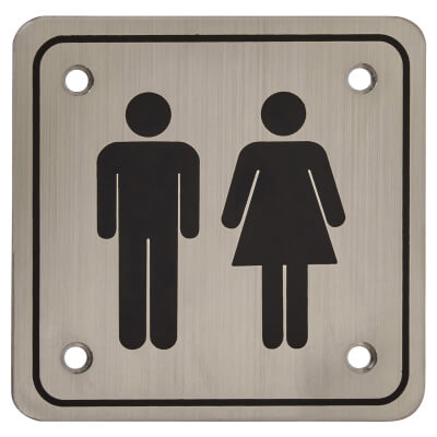 Unisex Square Toilet Door Sign - 100 x 100mm - Satin Stainless Steel