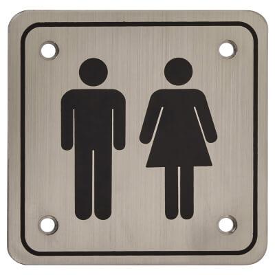 Unisex Square Toilet Door Sign - 100 x 100mm - Satin Stainless Steel