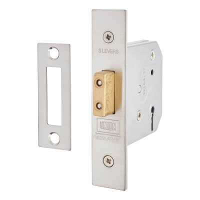 UNION® 2177 3 Lever Deadlock - 65mm Case - 44.5mm Backset - Satin Stainless Steel