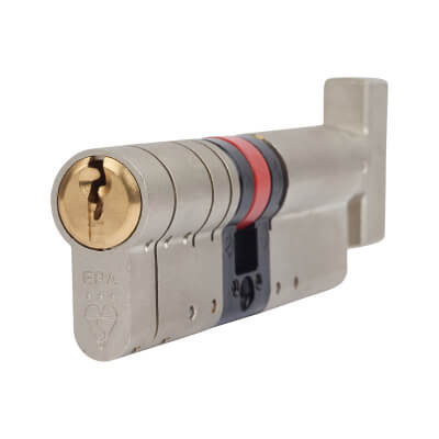 ERA 3 Star Fortress Cylinder - Euro Thumbturn - Length 95mm - 50[k]* + 45mm - Nickel and Brass