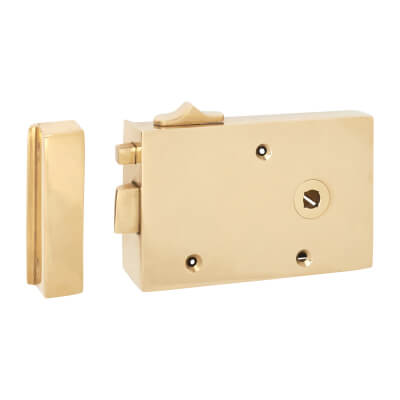 Bathroom/Bedroom Rim Latch - Right Hand - Solid Brass