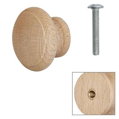 Cabinet Knob - Raw Beech - with Bolt & Insert - 30mm - Pack of 5