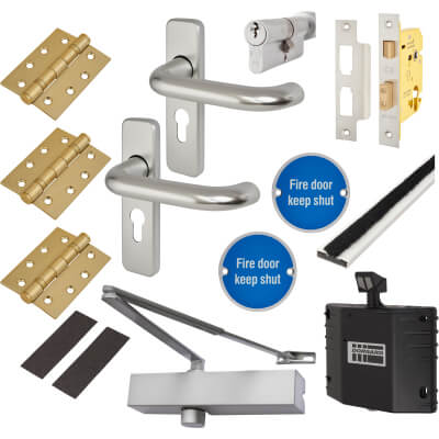 Medium Duty Lever on Backplate Fire Door Kit with Hold Open Device - Aluminium