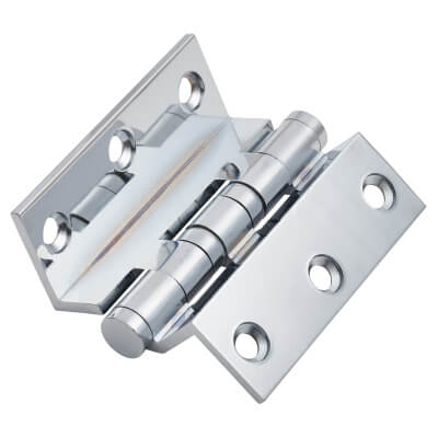 Cranked Ball Bearing Hinge - 75 x3mm - Polished Chrome)