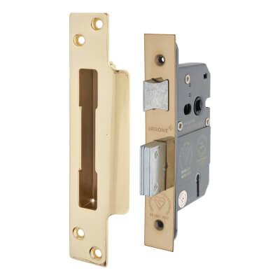 Arrone® BS3621 Sashlock - 63mm Case - 44mm Backset - Polished Brass