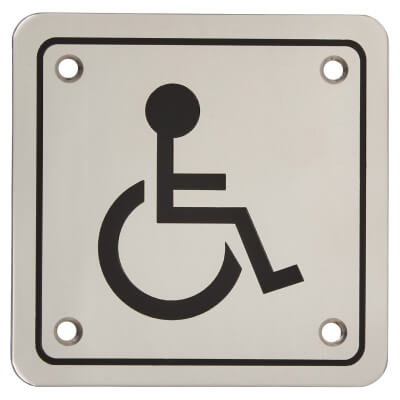 Disabled Square Toilet Door Sign - 100 x 100mm - Polished Stainless Steel