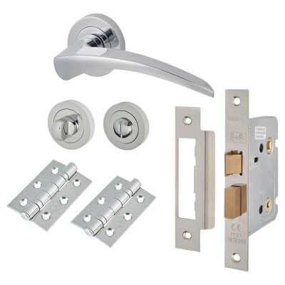Touchpoint Aston Lever Door Handle - Bathroom Lock Kit - Polished Chrome