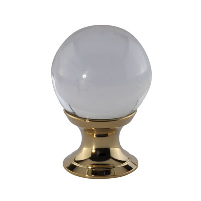Aglio Ball Glass Cabinet Knob - 25mm - Polished Brass