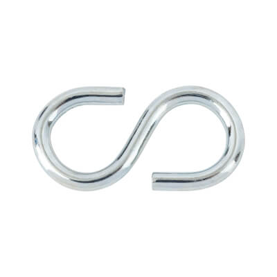 Heavy Steel S Hook - 25 x 3mm - Zinc Plated - Pack 10