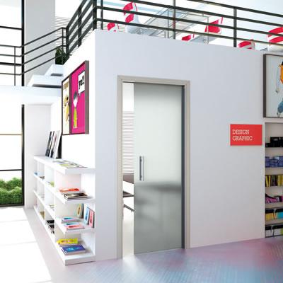 Eclisse 10mm Glass Single Pocket Door Kit - 100mm Wall - 762 x 1981mm Door Size - Left Hand