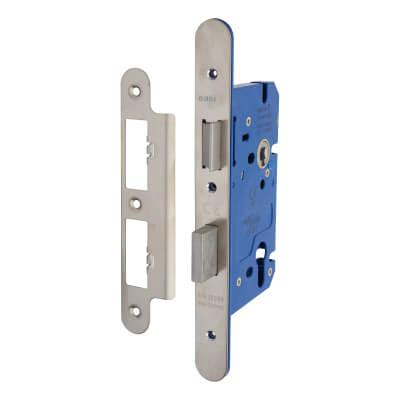 A-Spec Architectural DIN Euro Sashlock - 85mm Case - 60mm Backset - Radius - Satin Stainless)