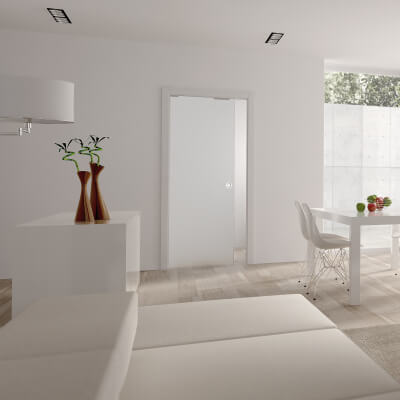 Eclisse 8mm Glass Single Pocket Door Kit - 125mm Wall - 762 + 762 x 1981mm Door Size)