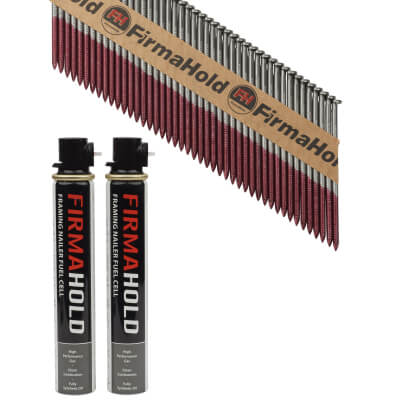 TIMco 34° FirmaHold Clipped Head Nail and Gas - First Fix - 3.1 x 75mm - Bright - 2 Fuel Cells