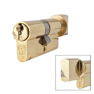 Eurospec MP10 - Euro Cylinder and Turn - 32[k] + 32mm - Polished Brass  - Master Keyed