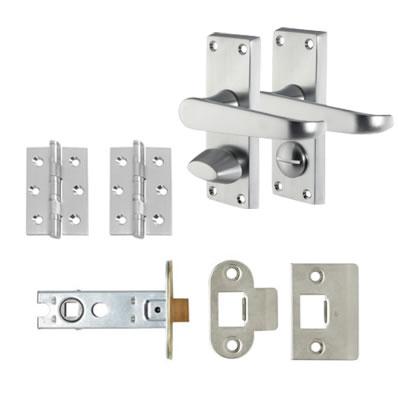 Aglio Victorian Handle Door Kit - Short Plate Privacy Set - Satin Chrome
