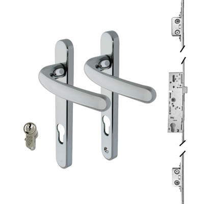 3 Point Multipoint Lock Kit with Windsor Handle - 35mm Backset - Bright Chrome)