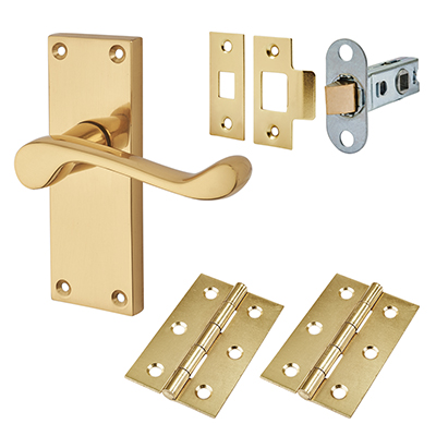 Touchpoint Budget Scroll Door Handle Kit - Latch Set - Polished Brass