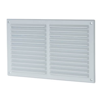 Louvre Vent with Flyscreen - 271 x 171mm - 13300mm2 Free Air Flow - White Plastic)