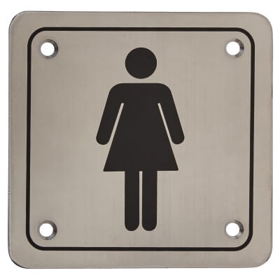 Ladies Square Toilet Door Sign - 100 x 100mm - Stainless Steel)