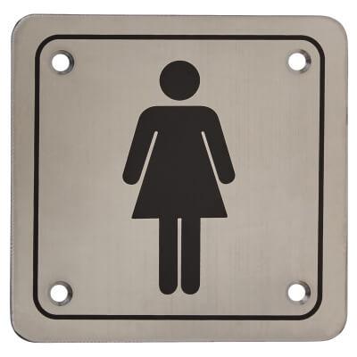 Ladies Square Toilet Door Sign - 100 x 100mm - Stainless Steel)