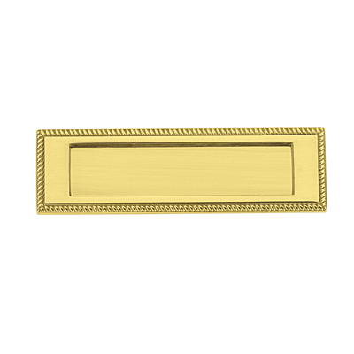 Georgian Rope Edge Letter Plate - 254 x 78mm - Polished Brass