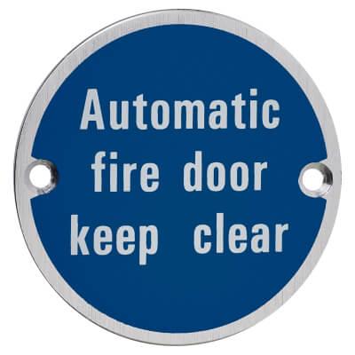 Automatic Fire Door Keep Clear - 75mm - Satin Aluminium