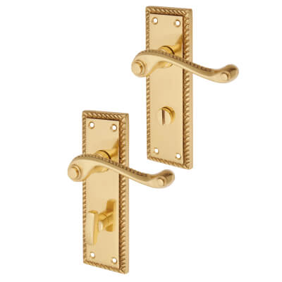 Aglio Georgian Door Handle - Bathroom Set - Polished Brass)