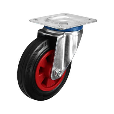 Coldene Heavy Duty Industrial Castor - Swivel - 205kg Maximum Weight - Black/Red)