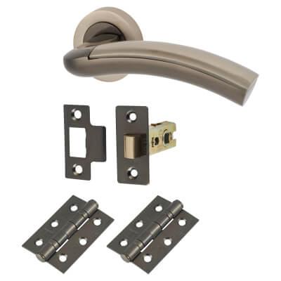 Morello Chiswick Lever Door Handles on Rose - Door Kit - Black/Satin Nickel