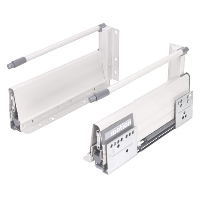 Motion 140mm Drawer Runner Pack - Soft Close - Includes 1 x Pair of Rods - 450mm - White