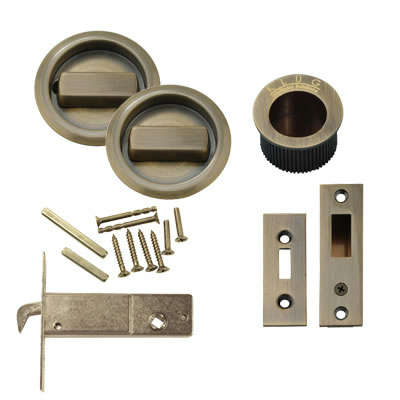 KLÜG Round Flush Handle Set with Latch - Antique Brass)