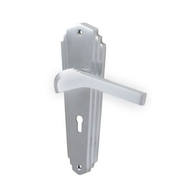 M Marcus Waldorf Door Handle - Keyhole Lock Set - Satin Chrome