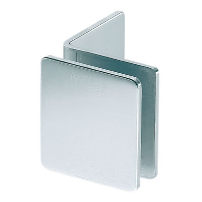 Glass to Glass Clamp - Wall Mount L Style - 8-12mm Glass - Polished Chrome)