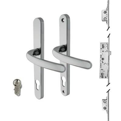 3 Point Multipoint Lock Kit with Balmoral Handle - 35mm Backset - Bright Chrome)