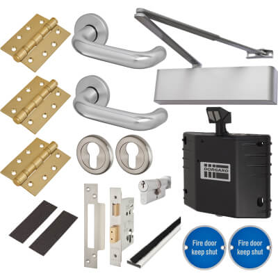 Heavy Duty Lever on Rose Fire Door Kit with Hold Open Device - Euro Sashlock - Aluminium