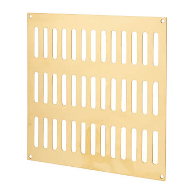 Plain Slotted Vent - 242 x 242mm - 13500mm2 Free Air Flow - Polished Brass