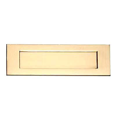Victorian Plain Edge Letter Plate - 359 x 113mm - Polished Brass)