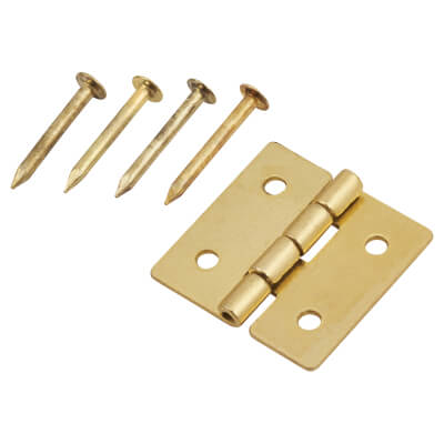 Mini Solid Brass Hinge - 13 x 14mm - Satin Brass - Pack of 5 pairs
