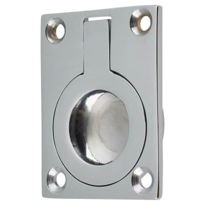 Rectangular Flush Ring Pull - 50 x 38mm - Polished Chrome