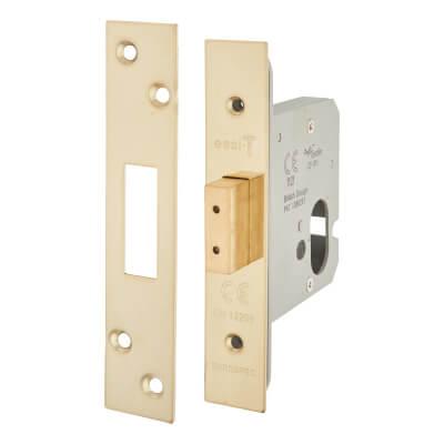 A-Spec Architectural Oval Deadlock - 78mm Case - 57mm Backset - PVD Brass
