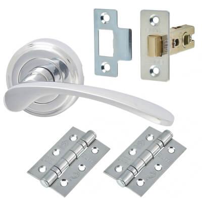 M Marcus Sophia Door Handle - Door Kit - Polished Chrome
