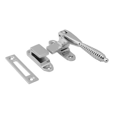 Hampstead Reeded Hook & Plate Window Fastener - Polished Chrome