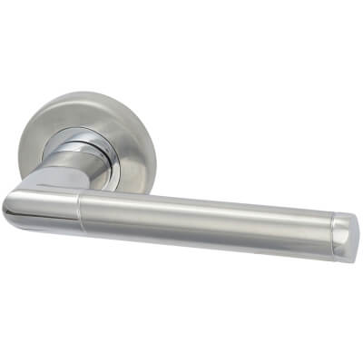 M Marcus Mercury Door Handle - Satin/Polished Chrome