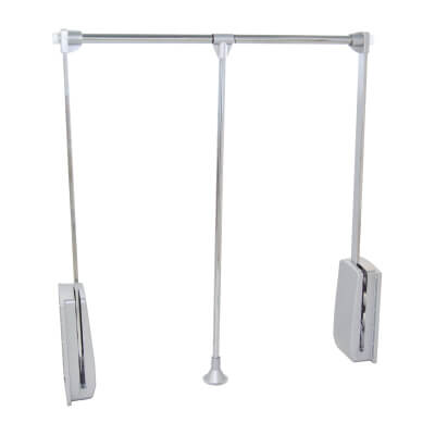 Pull Down Wardrobe Rail - 600-830mm - Chrome)